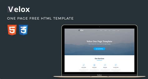 Velox One Page Free Html Template Free Html5 Templates Free One Page Html Template
