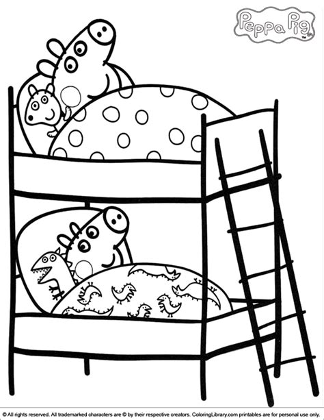 colouring pictures of peppa pig and george peppa and george on their beds peppa pig coloring