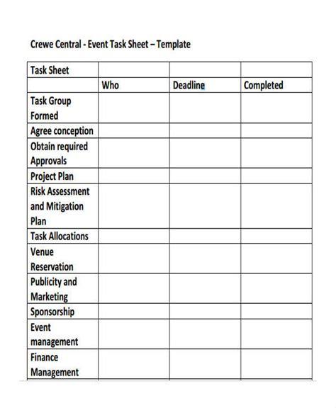 16 Task Sheet Sles Templates Sle Templates Task Sheet Template