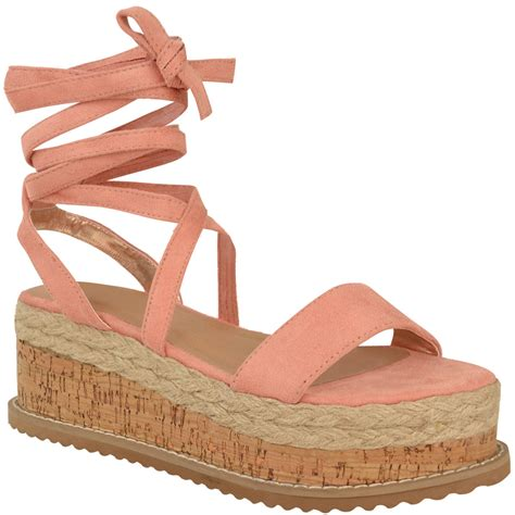 tie up wedge sandals womens flat wedge espadrille lace tie up sandals
