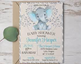 elephant baby shower invitation boy etsy