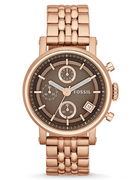 fossil original boyfriend gold tone in