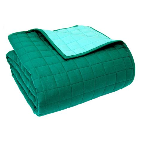 Teal Quilted Throw by Cotton Quilted Reversible Bedspreads Throw Brown Black