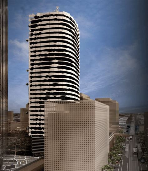 arm architects designed a unique building in mebourne australia displaying a portrait of an
