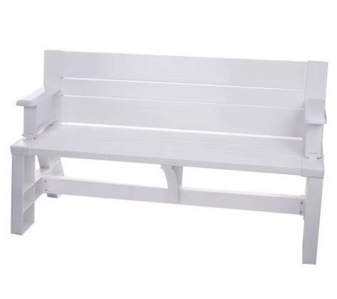 convert bench convert a bench 2 in 1 outdoor bench to table qvc com