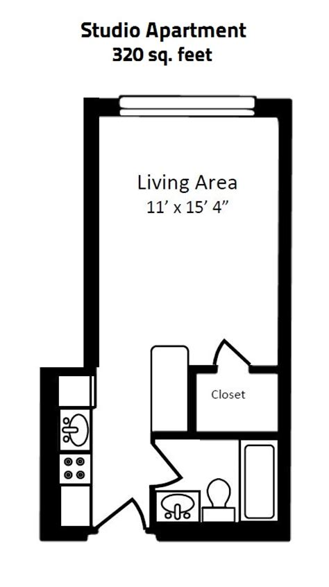 320 square feet studio apartments cwru