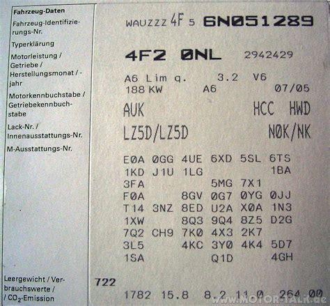 Audi Pr Nummer by Pr Nummer 4f
