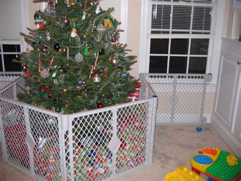 ideas on how to protect the christmas tree from a 1 yr old