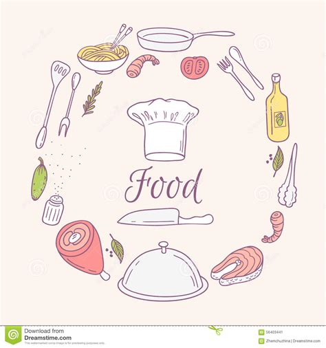 doodle food icons vector card with doodle food icons stock vector