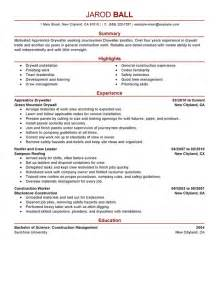 Carpentry Apprentice Sle Resume by Unforgettable Apprentice Drywaller Resume Exles To Stand Out Myperfectresume