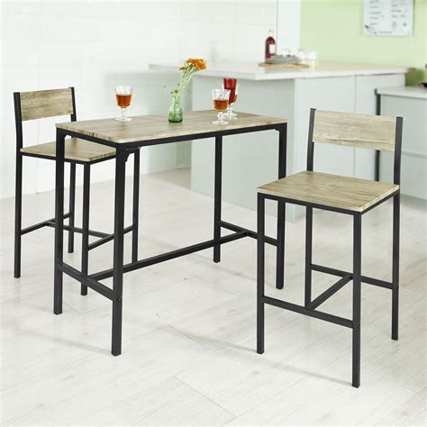 sobuy 174 bar table and 2 stools restaurant kitchen furniture