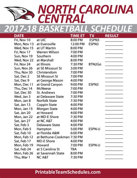 printable unc basketball schedule printable north carolina central basketball schedule 2017 18