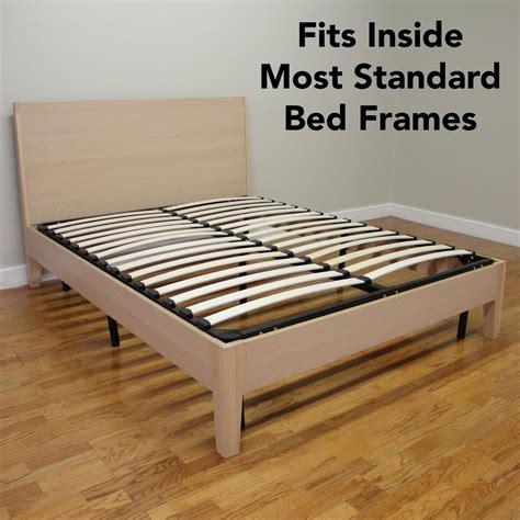 europa queen size wood slat  metal platform bed frame