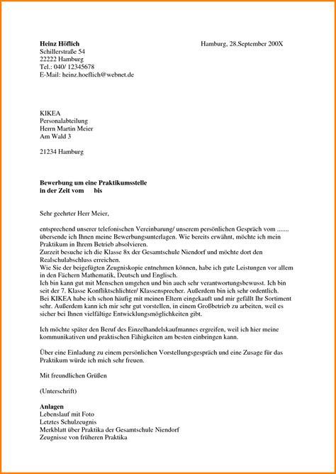 Anschreiben Bewerbung Schülerpraktikum 9 Anschreiben Sch 252 Lerpraktikum Resignation Format