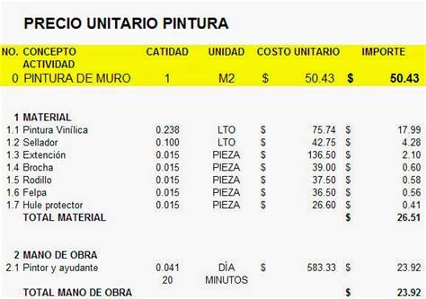 precio de obra por metro cuadrado costo de mano de obra de pintura por metro cuadrado