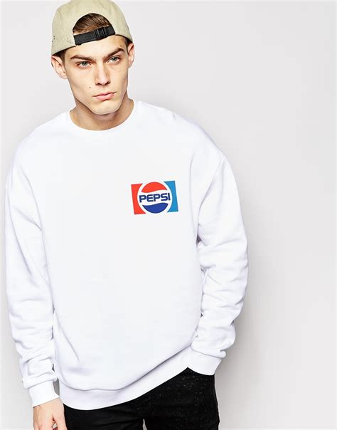 Hnm Sweatshirt With Printed Design White asos sweatshirt with pepsi chest print in white for lyst