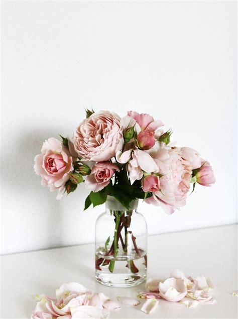 light pink roses in glass vase gardening pleasures
