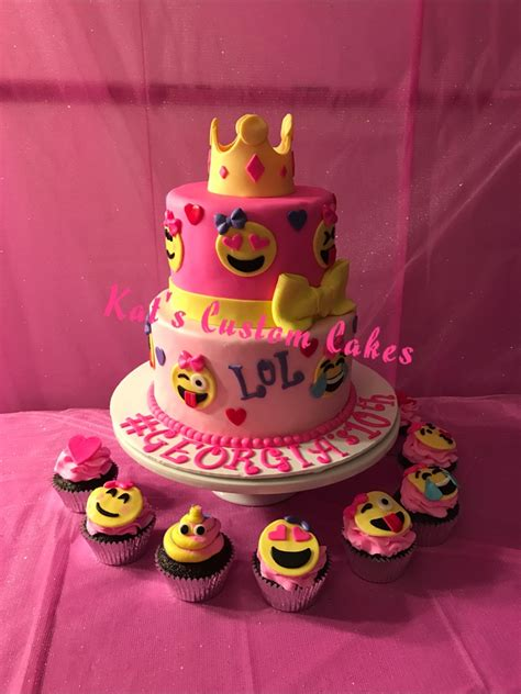 birthday themed emojis pink emoji cake and cupcakes girls birthday cakes