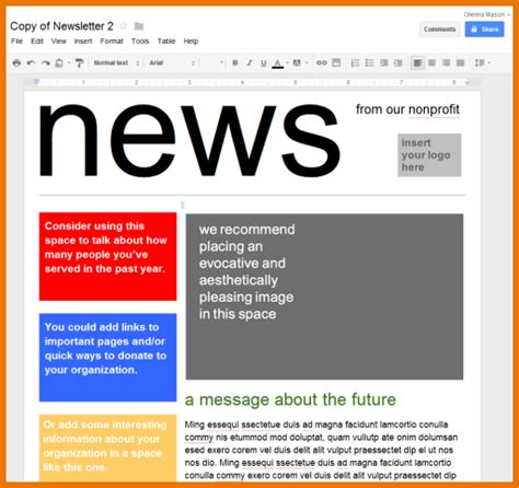 free newspaper templates for google docs google docs newsletter template best business plan
