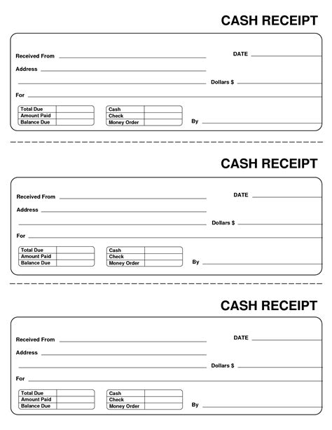 printable blank receipt templates 10 best images of blank receipt template blank receipt