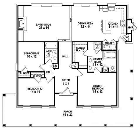 One Story Floor Plan 654151 One Story 3 Bedroom 2 Bath Southern Country Farmhouse Style House Plan House Plans