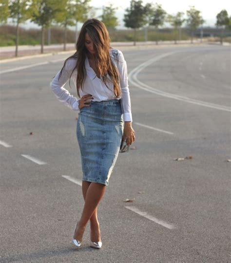 denim pencil skirt the fashion tag