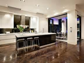 modern island kitchen design using floorboards kitchen photo 114425