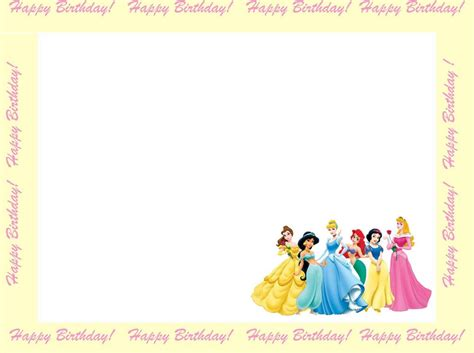 Happy Birthday Princess Card Template by 6 Free Borders For Birthday Invitations