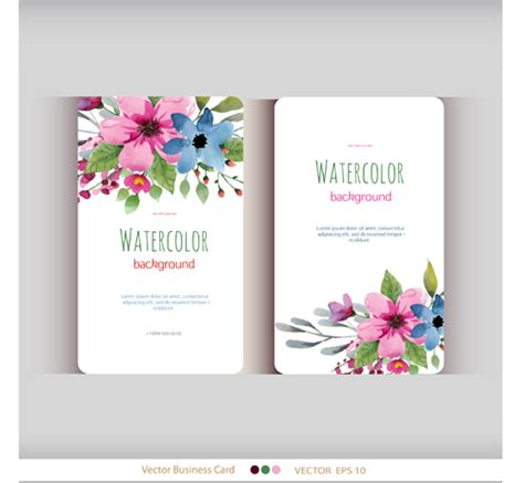 flower design name card beautiful watercolor flower business cards vector set 02