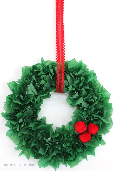 craft tissue paper wreath happiness is