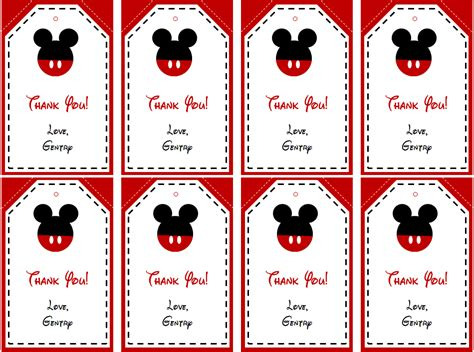 Free Mickey Mouse Thank You Card Template by Mickey Mouse Thank You Tags Printable Free Mickey Mouse