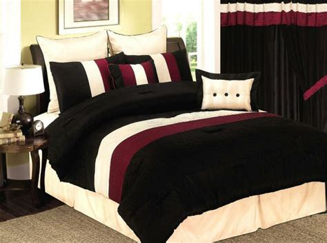 burgundy and black velvet comforter bed set details