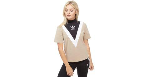 lyst adidas originals high neck chevron t shirt in