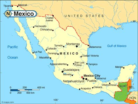 mexico in the map mexico map usa