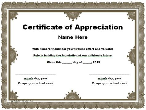 template for certificate of appreciation in microsoft word 31 free certificate of appreciation templates and letters
