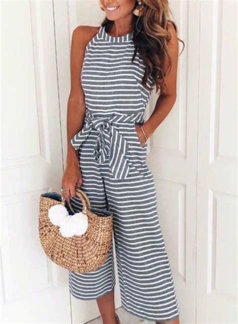 Sleeveless Wide Leg Jumpsuit black white striped sleeveless wide leg jumpsuits