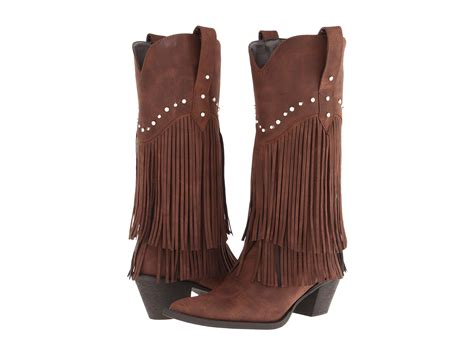 brown fringe boots roper 12 quot stud and fringe boot in brown lyst