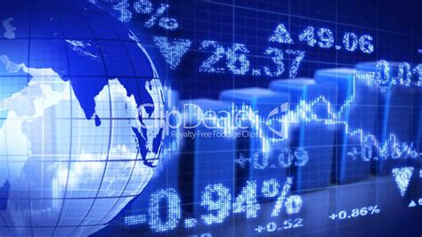 cool stock globe and graphs blue stock market loopable background