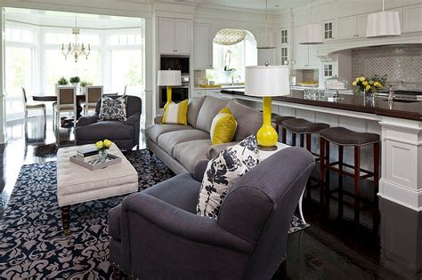 Grey And Yellow And Blue Living Room Gray And Yellow Living Rooms Photos Ideas And Inspirations