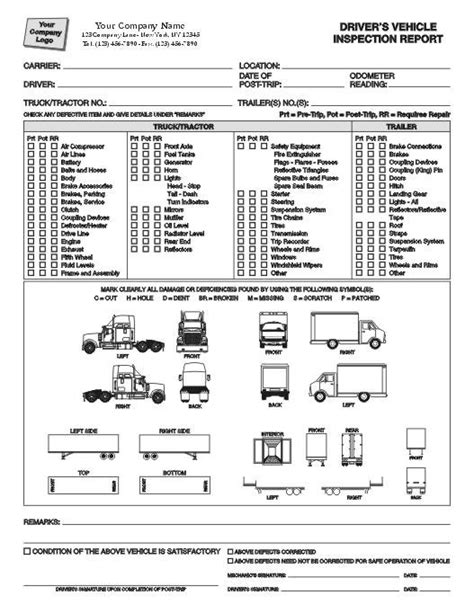 Condition Report Forms Condition Report Form Trailer Inspection Report Template