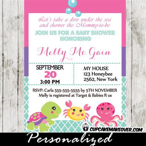sea creature baby shower invitations the sea baby shower invitation card for