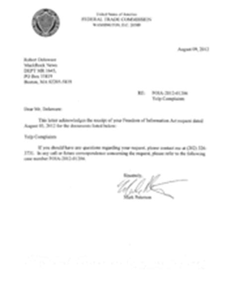 Acknowledgement Letter Complaint Received Ftc Complaints For Www Yelp