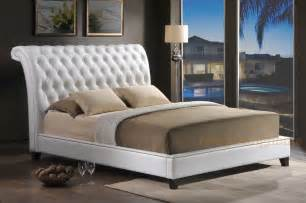 Tufted Sleigh Bed King White Faux Leather Or King Nail Tufted Scroll Sleigh Bed Frame Ebay