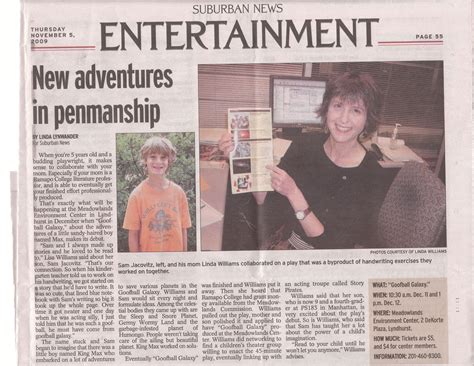 entertainment section in newspaper goofball galaxy featured in north jersey suburban news