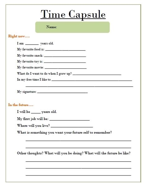 printable time capsule sheets time capsule template worksheet search results