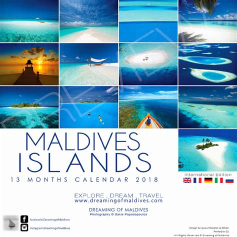 Calendar Islands 2018 Maldives Islands Wall Calendar