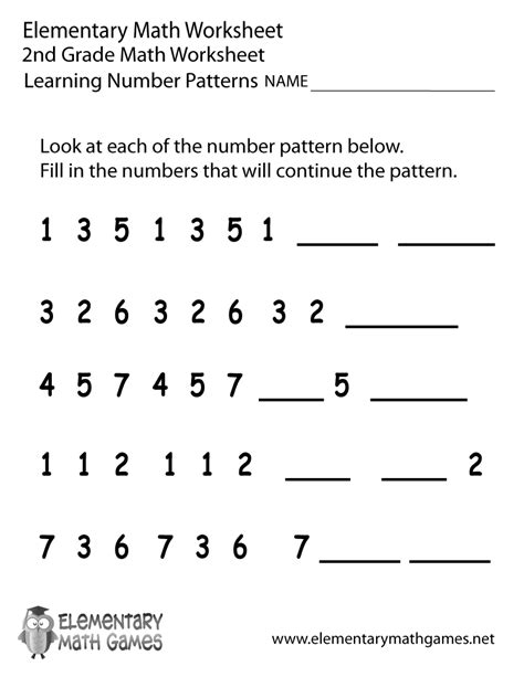 Pattern Games For 2nd Grade | 2nd grade number patterns worksheet printable png lesson