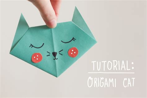 Easy Origami Cat - nook cranny tutorial origami cat
