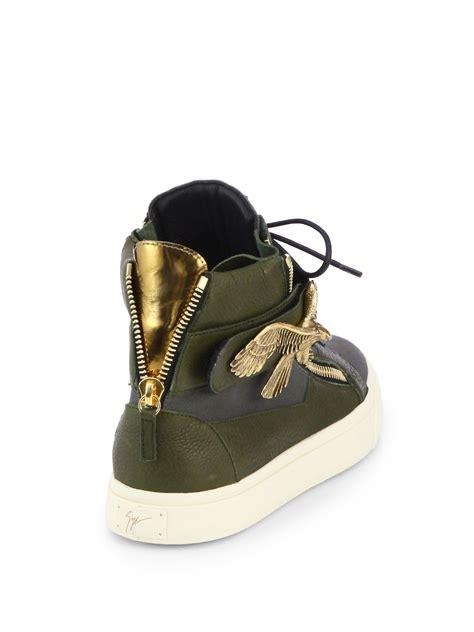 lyst giuseppe zanotti eagle hightop sneakers  green