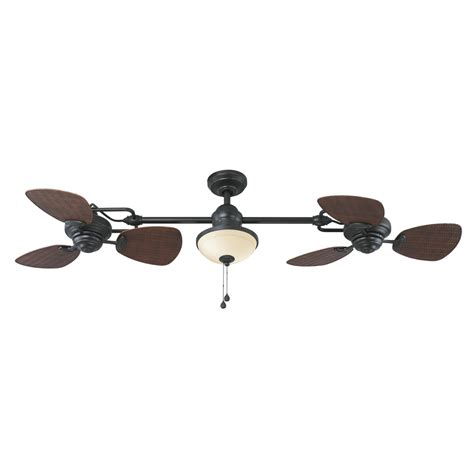 dual blade ceiling fan shop harbor breeze twin breeze ii 74 in oil rubbed bronze
